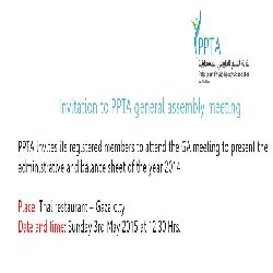 Invitation to PPTA general assembly meeting